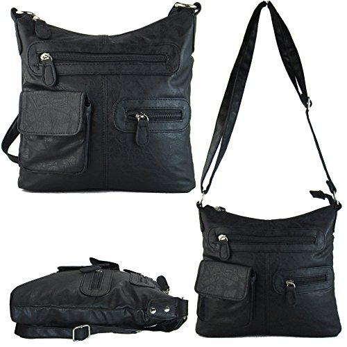 Xardi London Ladies niña Medium Negro Marrón Estilo de cuero Cruz Cuerpo Bolsa las mujeres bolso de hombro negro