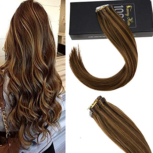 10Days Limited CouponSunny 14quot Tape in Hair Extensions Real Human Hair Ombre 20pc 50g Dark Brown Highlight with Caramel Blonde Hair Extensions Human Hair Tape in