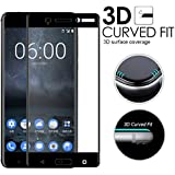 Nokia 8 Screen Protector, [3D GLASS] DN-TECHNOLOGY® Nokia 8 TEMPERED GLASS SCREEN PROTECTOR, [HD CLEAR] [Anti-Scratch] 9H Hardness 0.33MM Easy To Install Bubble-Free Screen Protector For Nokia 8 [compatible with Nokia 8 Case]