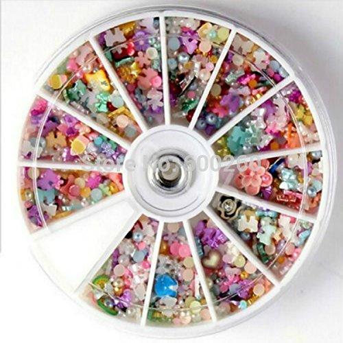 Tips Decoration Glitter Rhinestone Wheel (SymWell(TM) 1200pcs Wheel Mixed Nail Art Tips Glitters Rhinestones Slice Decoration Manicur 2016 New)