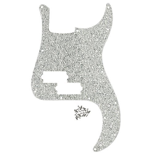 FLEOR P Bass Pickguard Guitar Scratch Plate Pick Guard w/Screws for 4 String American/Mexican Standard Precision Bass Style, 1ply Sparkle Silver