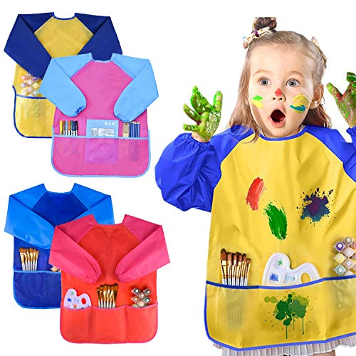 BOSONER Kids Art Aprons Children Art Smock with Waterproof Artist Painting Aprons Long Sleeve with 3 Pockets for Age 2-6 Years (4 Pack) (Red+Blue Yellow+Pink)]()