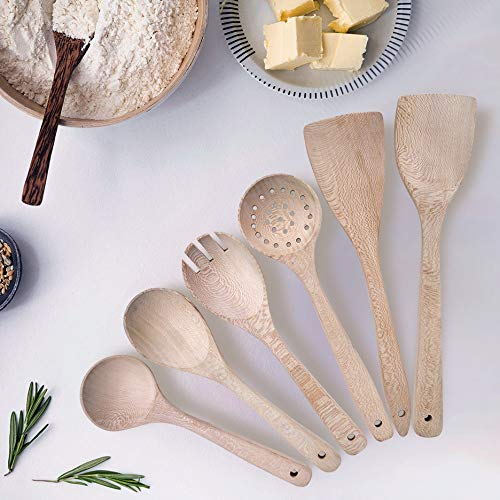 ProBlazes Wooden Utensils for Cooking, 6 Pieces Bamboo Cooking utensils, Essential for Nonstick Pans and Pots, Cooking Utensils, Wooden Utensil set of (6)