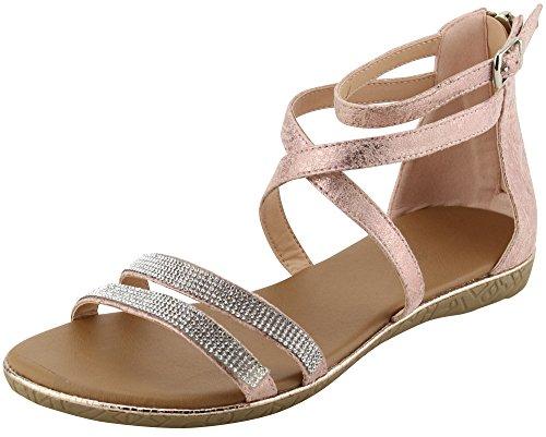 Cambridge Selezionare Donna Open Toe Crisscross Caviglia Strappy Cristallo Strass Sandalo Piatto Rosa