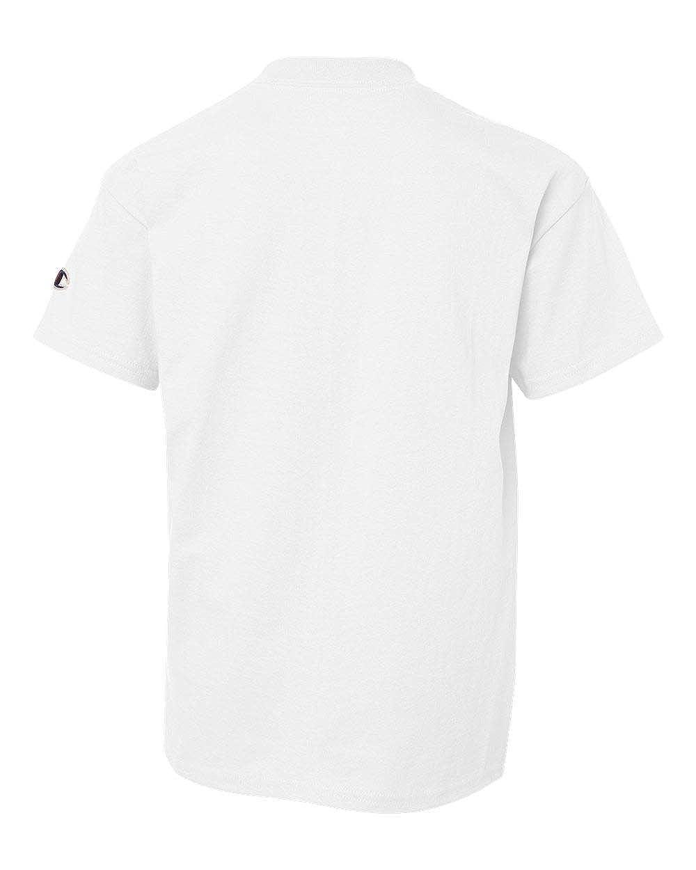 S White Tagless T-Shirt Champion Youth 6.1 Oz