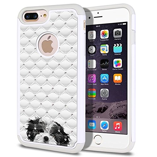 Apple iPhone 7 Plus 2016 / iPhone 8 Plus 2017 5.5 inch Case, Fincibo (TM) Dual Layer Shock Proof Hybrid Hard Protector Cover Anti-Drop Silicone Star Studded Rhinestone Bling, Black White Shih Tzu (Black White Shih Tzu)