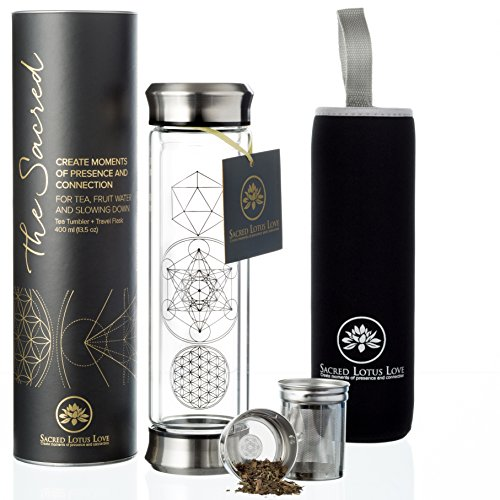 The Sacred Glass Tea Infuser Bottle Tumbler + Strainer for Loose Leaf, Herbal, Green or Ice Tea. 415ml/14oz Cold Brew Coffee Mug or Fruit Infusion. Hot or Cold Water Travel Bottle. Free Travel Sleeve