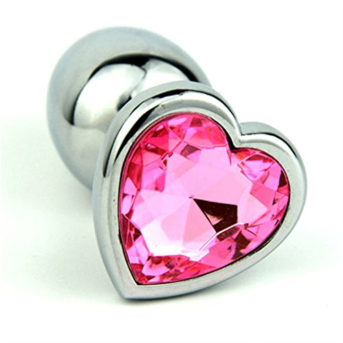 3 Size Anal Sex Toys You Can Choose Heart Jelly Anal Plug Stainless Steel Butt Plug Ass Toys for Women Men Gay ELDJ257 L Pink