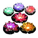 LACGO (Pack of 6) Battery Operated Mixed Colors Waterproof LED Lotus Light, Water Floating Lily Flower with Color-Changing Light, Flower Night Lamp for Pool Garden Fish Tank Wedding or Party Decor
