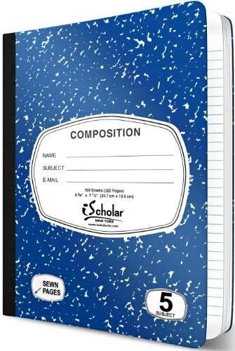 iScholar 5-Subject Colored Marble Composition Book, 160 Sheets, Wide Ruled, 9.75 x 7.5-Inches, Cover Color May Vary (18115) by iScholar