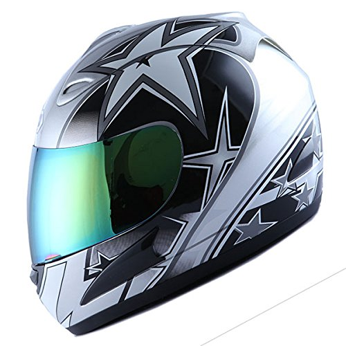 (WOW Motorcycle Full Face Helmet Street Bike Racing Star Silver)