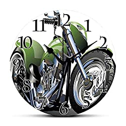 BCWAYGOD Silent Wall Clock,Motorcycle,Motorcycle Design with Fancy Supreme Gears and Metal Tires Action Urban Life,Green Silver Non Ticking Wall Clock/Desk Clock for Office Home Decor 9.5 inch