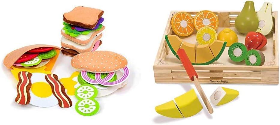 Melissa & Doug Felt Food Sandwich Set & Cutting Fruit