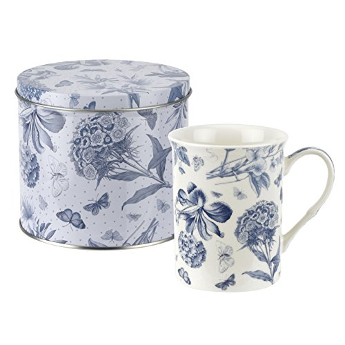Botanic Blue Mug and Tin Set, Porcelain, Blue and White, 13 x 13 x 11.5 cm ()
