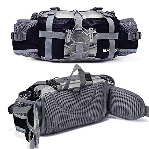 Bp Vision Outdoor Fanny Pack Hiking Camping Biking Waterproof Waist Pack 2 Water Bottle Holder Sports Bag for Women and Men Black