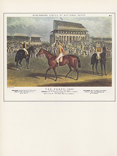 1974 Vintage HORSE RACING THE DERBY by ACKERMANN COLOR Art Print Lithograph