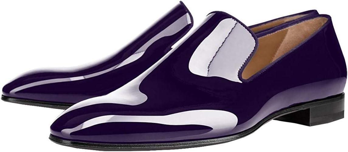 ÃZARMAN Men/'s Black Patent Leather Formal Tuxedo Slip On Dress Shoes Loafers