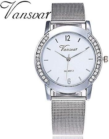 SHOUB Banda de Acero Inoxidable de Cuarzo Informal Newv Correa Reloj analógico de Oro Rosa Reloj de Pulsera para Mujer Elegante