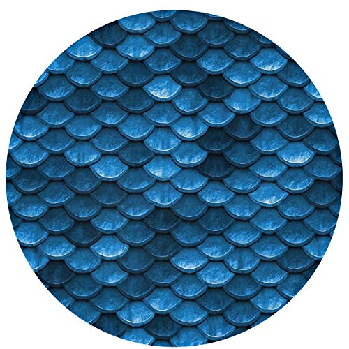 Pet Dog Mat Play Mattress for Puppy and Cat Round Non Slip Dog Door Mat Super Soft Rug/Blanket(Bahama Sea Blue Mermaid Fish Scales) - 16 Inches