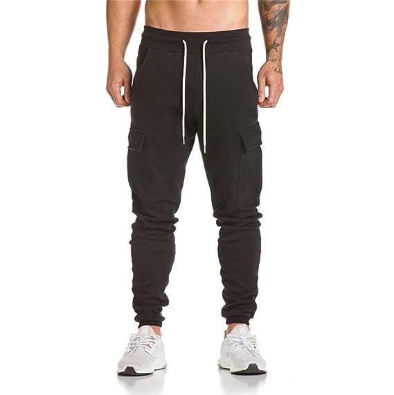 YanHoo Pantalones de chándal de los Hombres Pantalones de chándal Informales para Hombres Bolsillos Laterales Personalizados Pantalones Delgados Pantalones ...