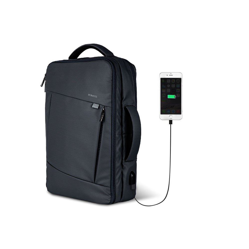Laptop Backpack with USB Charging Port, ROMOSS Convertible Water-Resistant Business Briefcase Travel Bag Student Shoulder Bag Daypack Fits Under 15.6 Inch Laptop Notebook Computer, Black low-cost