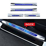 4 PCS Fit for Toyota RAV4 2014-2018 Stainless Steel Inner Door Sill Scuff Plate Guard Sills Protector Trim - Blue