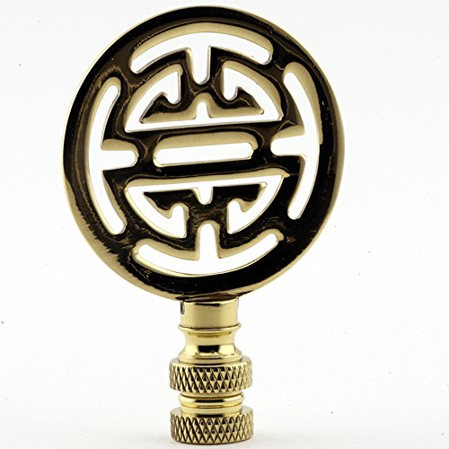 (Polished Brass Asian Finial Lamp Shade Topper Oriental Character Letter Bright Gold)