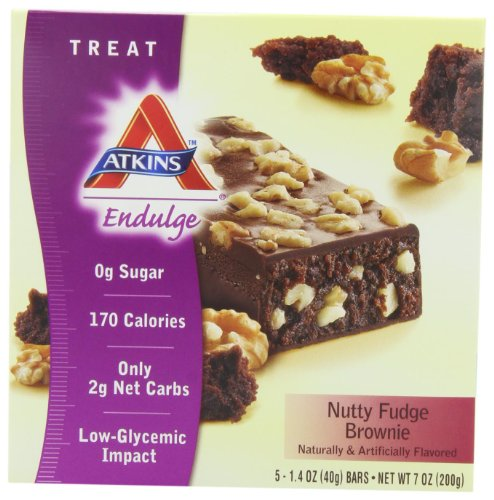 Nutty Fudge - Atkins Endulge Nutty Fudge Brownie Bar, 5 - 1.4 oz. Bars (Pack of 2)