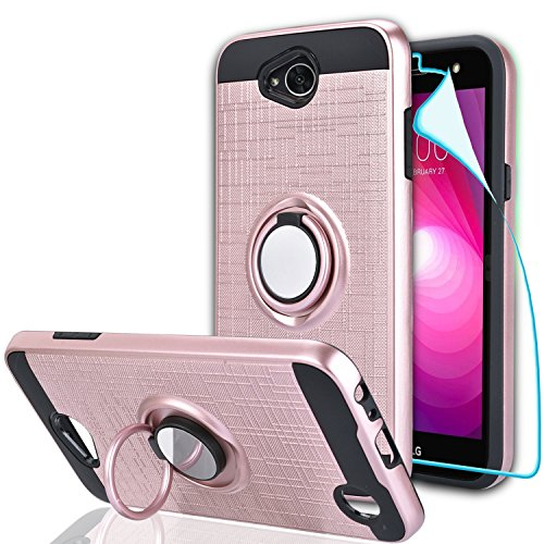 LG Fiesta 2 Case/X Power 2/X Charge/K10 Power/Fiesta LTE Case with HD Screen Protector,Ymhxcy 360 Degree Rotating Ring & Magnetic Bracket Dual Layer Shock Bumper Cover for LG LV7-ZH Rose Gold