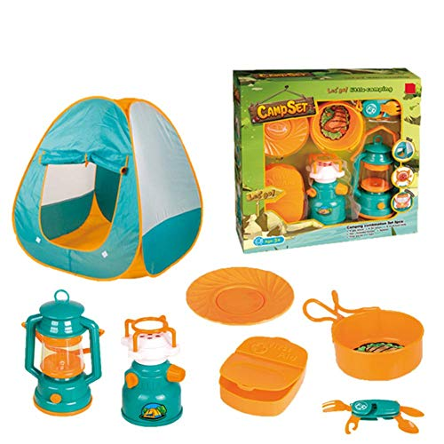 LLVV 7PCS Pop Up Play Tent with Camping Gear Toy Tools Set for Kids Plastic Set Tableware Simulation Toys