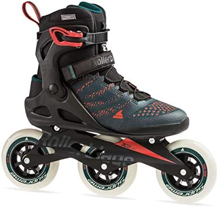Rollerblade Macroblade 110 3WD Mens Adult Fitness Inline Skate, Teal Green and Orange Burst, Performance Inline Skates