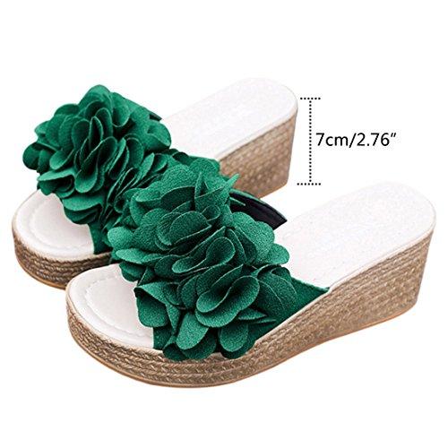 Slip Slip Floral Beach Sandal Platform Women Green Jiyaru Shoes Slippers Anti Casual On BZx0nT