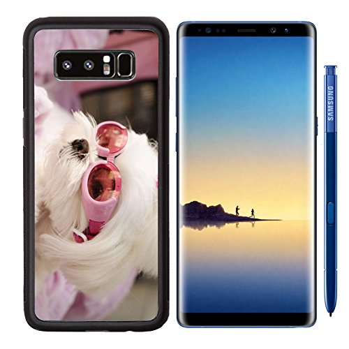 MSD Premium Samsung Galaxy Note8 Aluminum Backplate Bumper Snap Case Cute maltese dog wearing pink goggles Image 21016956 Customized Tablemats Stain Resistance Collector Kit Kitchen Table Top - Free Images Goggles