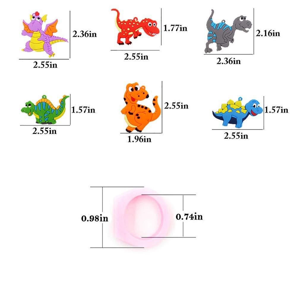 6 Colors Party Dekoration Geschenk Dinosaurier Spielzeug f/ür Kinder 12 St/ück Geburtstag Snap Armband Dinosaurier Ring und Dinosaurier Slap Armband