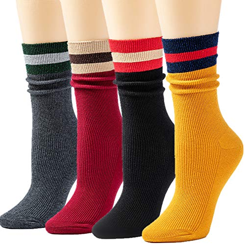 Fashion Sock Stripe - Socks Womens Socks Crew Socks Long Socks Cotton Printed Socks for Women Funny Novelty Socks Cartoon Cute Fashion Knit Socks PackFS-Bling Stripes