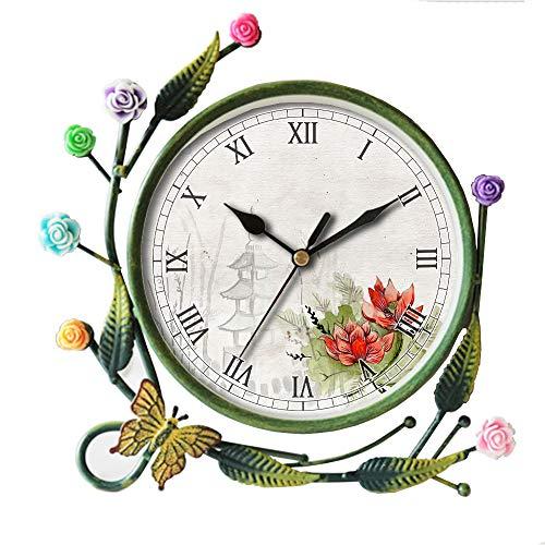 girlsight Iron Art Living Room Butterfly Flower Leaf Decorative Non-Ticking Quartz, Analog Large Numerals Bedside Table Desk Alarm Clock-035.Background, Scrapbook, Paper, - Decorative Garden Floral Clock