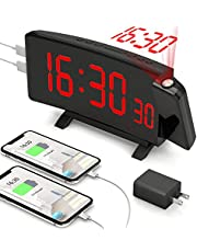Projection Alarm Clock, PEYOU 7'' Large LED Curved Display Digital Alarm Clock, 5 Dimmer Adjustable and 2 USB Charging Ports, 180° Rotatable Projector, 9 Minutes Snooze and Dual Alarms, Battery Backup Setting, Ceiling Digital Alarm Clock for Bedroom, Elders, Senior
