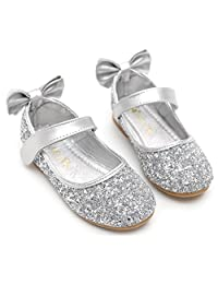 PPXID Girl's Shiny Sequins Sweet Bowknot Little Princess Shoes