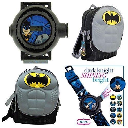 Batman Dark Knight Kids Molded Chest Backpack & 10 Image Batman Gotham Projector Watch by DC Comics