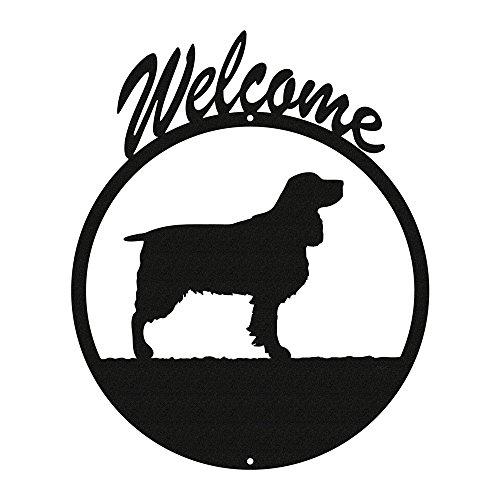 SPRINGER SPANIEL Black Metal Welcome Sign ~NEW~