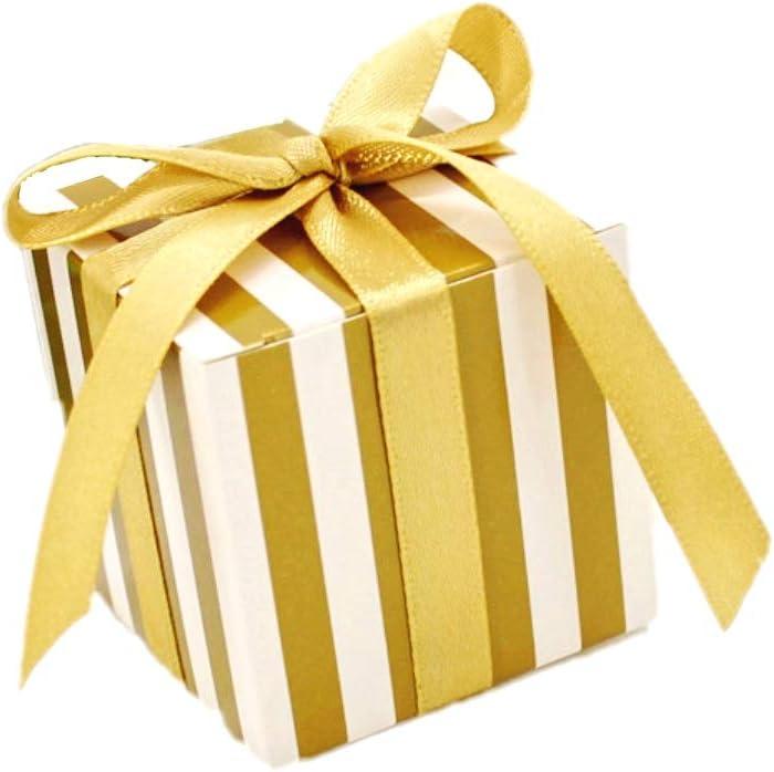 JZK 50 x Cajas de regalo con cinta para fiesta boda cumpleaños navidad bautizo o comunión para dulce bombones caramelos confeti, raya oro
