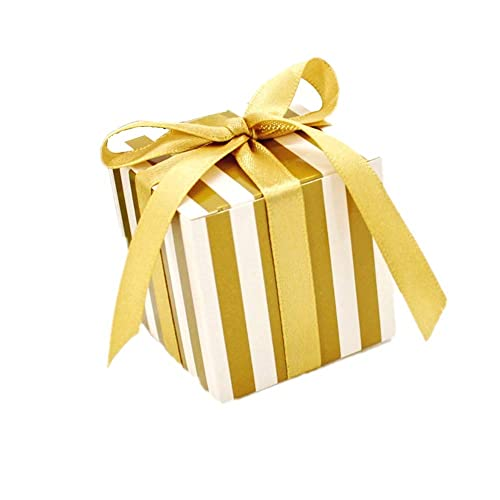 jzk 50 x gold stripe party wedding favour boxes gift box for favours sweets