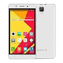 Wogiz 5.5 inch WX90 Pro SmartPhone Unlocked Android 5.1 MTK6580 Quad Core ROM 8GB 5.0MP Camera Dual Sim Quadband GSM/3G Cellphone (White)