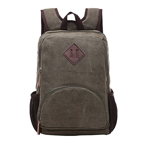 Vrikoo Casual Canvas Backpack Lightweight Laptop Backpack Travel Rucksack For Men & Women Armee Grün
