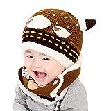 Yoyorule Lovely Baby Boys Girls Winter Warm Hats Scarf and Cap Set Earflap Beanie (Coffee)
