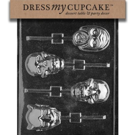 Dress My Cupcake DMCH023 Chocolate Candy Mold, Scary Faces Lollipop, Halloween -