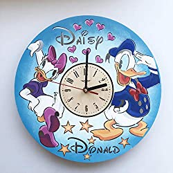 7ArtsStudio Painted Daisy and Donald Duck Wall Clock Made of Wood - Perfect and Beautifully Cut - Decorate Your Home with Modern Art - Unique Gift for Him and Her - Size 12 Inches