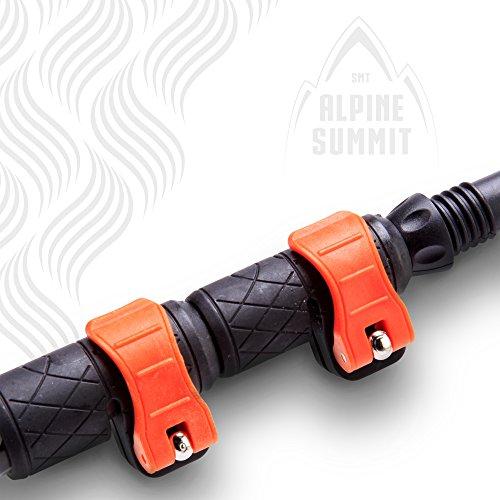 Alpine Summit Trekking Poles Collapsible Hiking / Walking Sticks, 100% Tungsten Tips, Ultralight, Anti-shock, Sweat Absorbing Cork Grips, Flip Locks