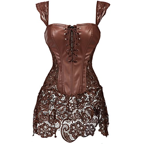 KIWI RATA Women's Punk Rock Faux Leather Buckle-up Corset Bustier Basque with G-String, Brown(fba), 4X-Large