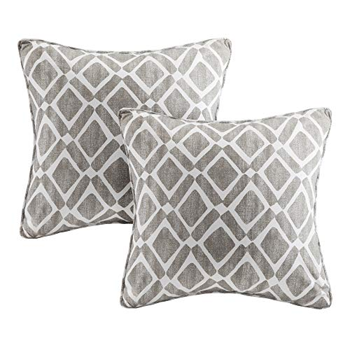 Madison Park MP30-1443 Delray Diamond Printed Square Pillow Pair 20x20 Grey